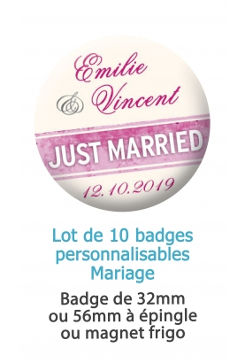 Badges personnalisés mariage Just married