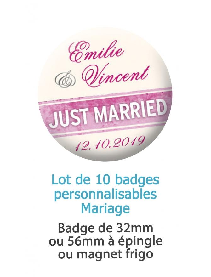 Badges personnalisés mariage Just married