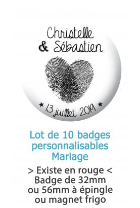 Badges personnalisés mariage empreinte cœur - 10 badges à épingles