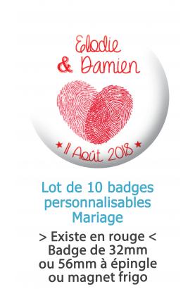 Badges personnalisés mariage empreinte doigts cœur - 10 badges à épingles