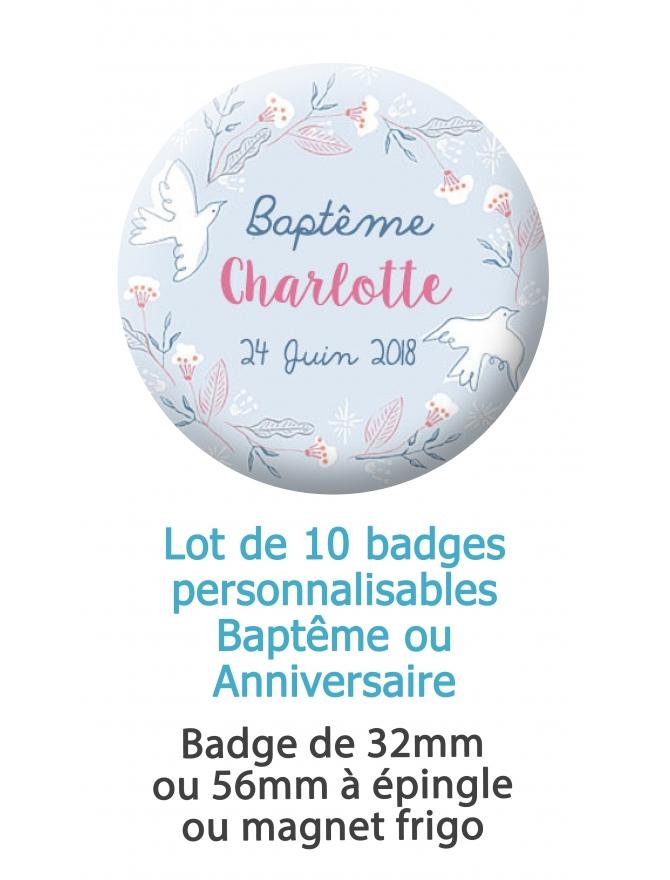 Badges personnalisés baptême ou anniversaire oiseaux - 10 badges à épingle ou magnet frigo