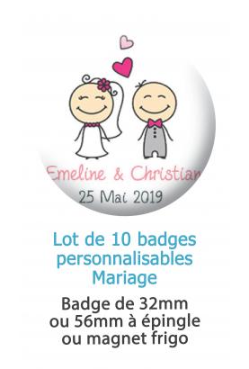 Badges personnalisés mariage couple de mariés
