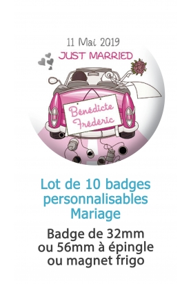 Badges personnalisés mariage voiture Just married - 10 badges à épingle ou magnet frigo