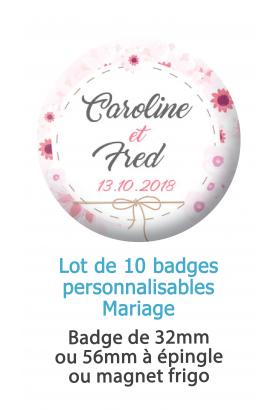 Badges personnalisés mariage champêtre - 10 badges à épingle ou magnet frigo