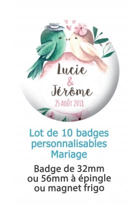 Badges personnalisés mariage oiseaux - 10 badges à épingle ou magnet frigo