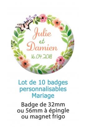 Badges personnalisés mariage couronne de fleurs - 10 badges à épingle ou magnet frigo