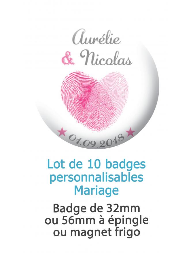 Badges personnalisés mariage empreinte coeur rose et gris - 10 badges à épingle ou magnet frigo