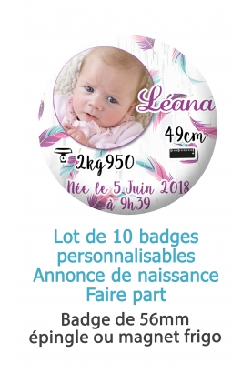 Badges naissance plume avec photo