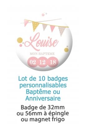 Badges personnalisés baptême ou anniversaire fanion - 10 badges à épingle ou magnet frigo