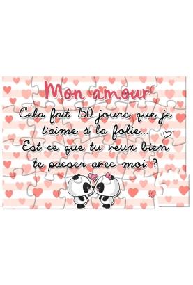 Puzzle amour pour demande en mariage ou pacs ou déclarer votre amour