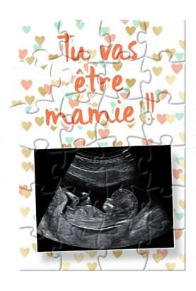 Puzzle annonce de grossesse avec votre échographie. annonce grossesse. annonce mamie