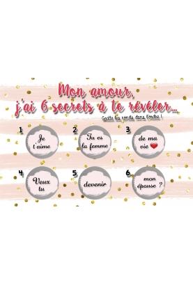 """Carte à gratter """"J'ai 6 secrets à te révéler"""" pour votre amoureux(se) personnalisable"""