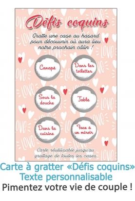 """Carte à gratter """"Défis coquins"""" pour pimenter votre vie de couple !"""