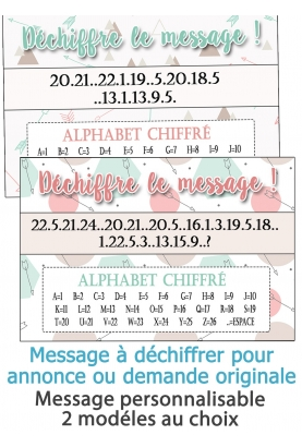 Déchiffre le message - personnalisable - pour annonce ou demande originale