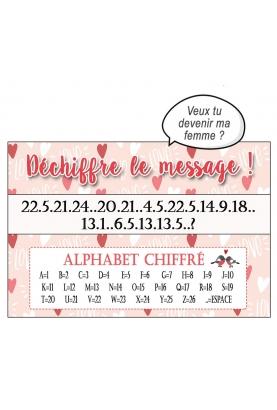 Déchiffre le message spécial Amour - personnalisable - pour demande originale