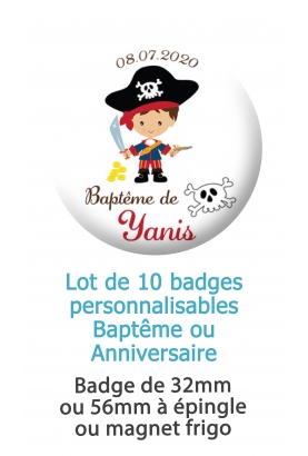 Badges personnalisés baptême pirate