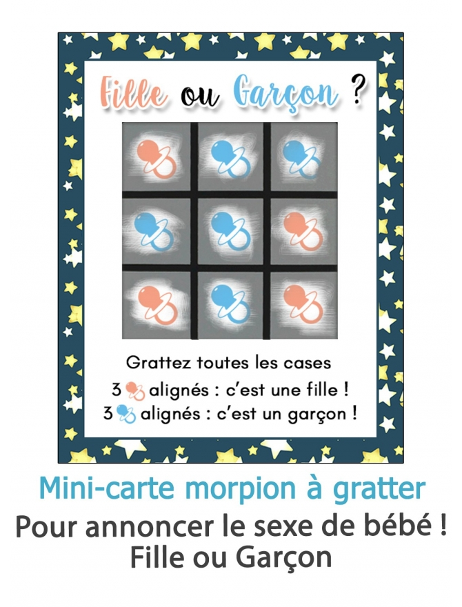 "Mini-carte à gratter morpion ""Fille ou Garçon ?"""