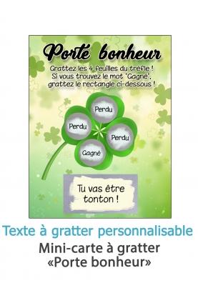 """Mini-carte à gratter """"Porte bonheur"""" pour annonce originale"""