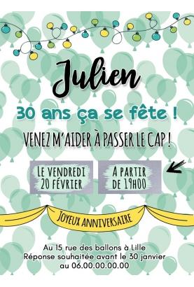 Carte d'invitation anniversaire à gratter adulte - ballon