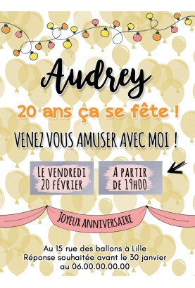 Carte d'invitation anniversaire à gratter adulte - ballon