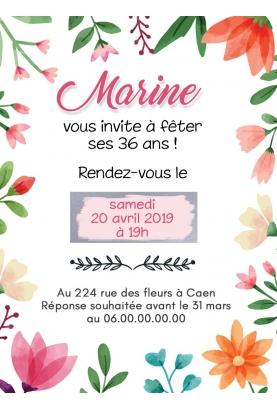 carte invitation. carte anniversaire. carte fleur invitation