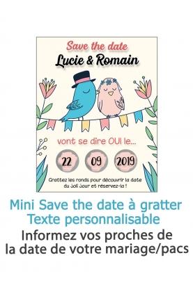 """Mini Save the date """"oiseaux"""" à gratter pour annoncer votre mariage ou pacs"""