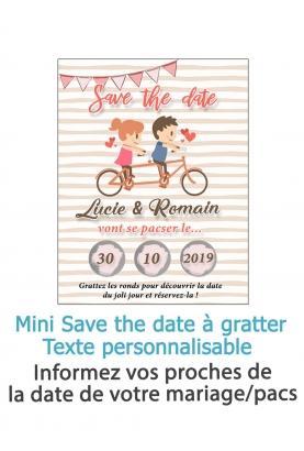 """Mini Save the date """"couple vélo"""" à gratter pour annoncer votre mariage ou pacs"""