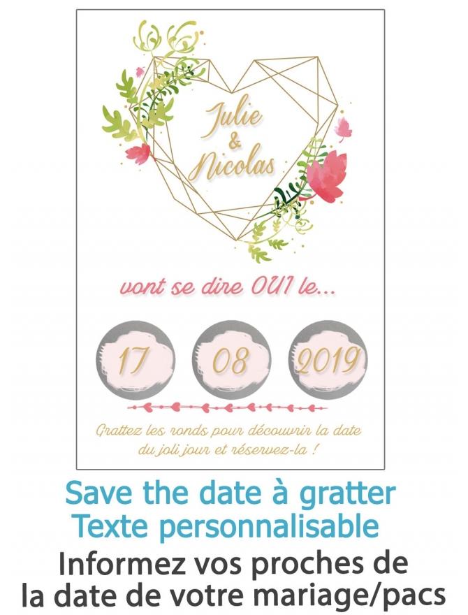 """Save the date """"coeur"""" à gratter pour annoncer votre mariage ou pacs"""