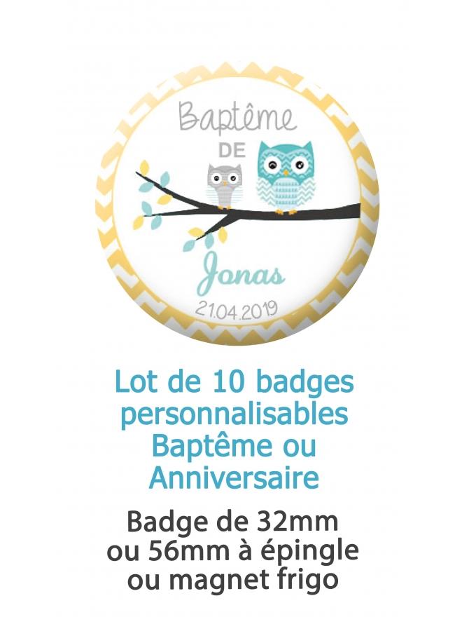 Badges personnalisés baptême ou anniversaire hiboux - 10 badges à épingle ou magnet frigo