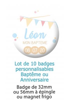 Badges personnalisés baptême ou anniversaire garçon fanion - 10 badges à épingle ou magnet frigo