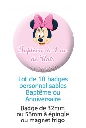 Badges personnalisés baptême ou anniversaire minnie - 10 badges à épingle ou magnet frigo