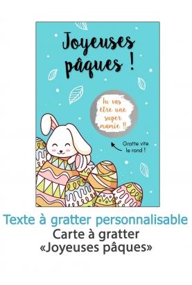 "Carte à gratter ""Joyeuses pâques"" bleu"