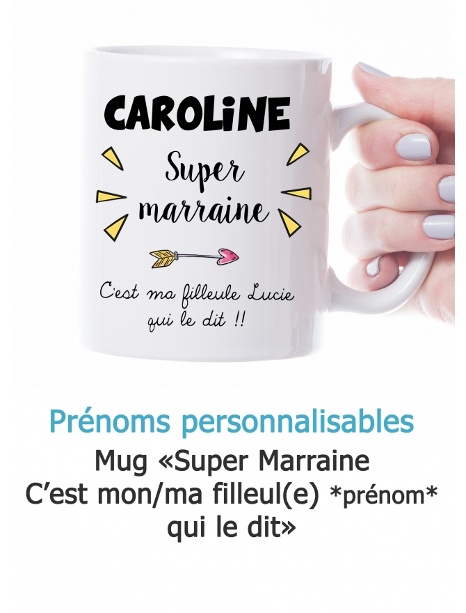 "Mug ""Super marraine"" personnalisable"