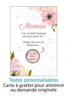 Carte à gratter fleur pour annonce ou demande originale