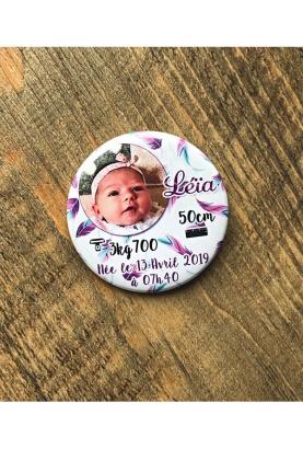 Badges faire part naissance fille