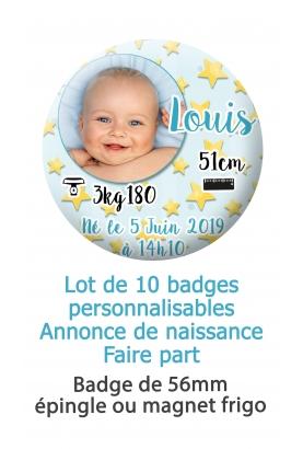 badge naissance. faire part naissance. badge bébé. badges naissance garcon