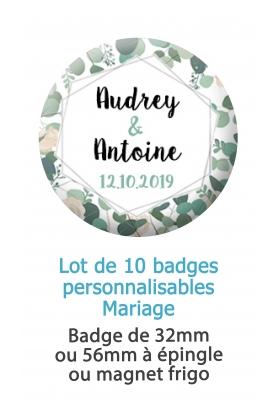 Badges personnalisés mariage fleurs
