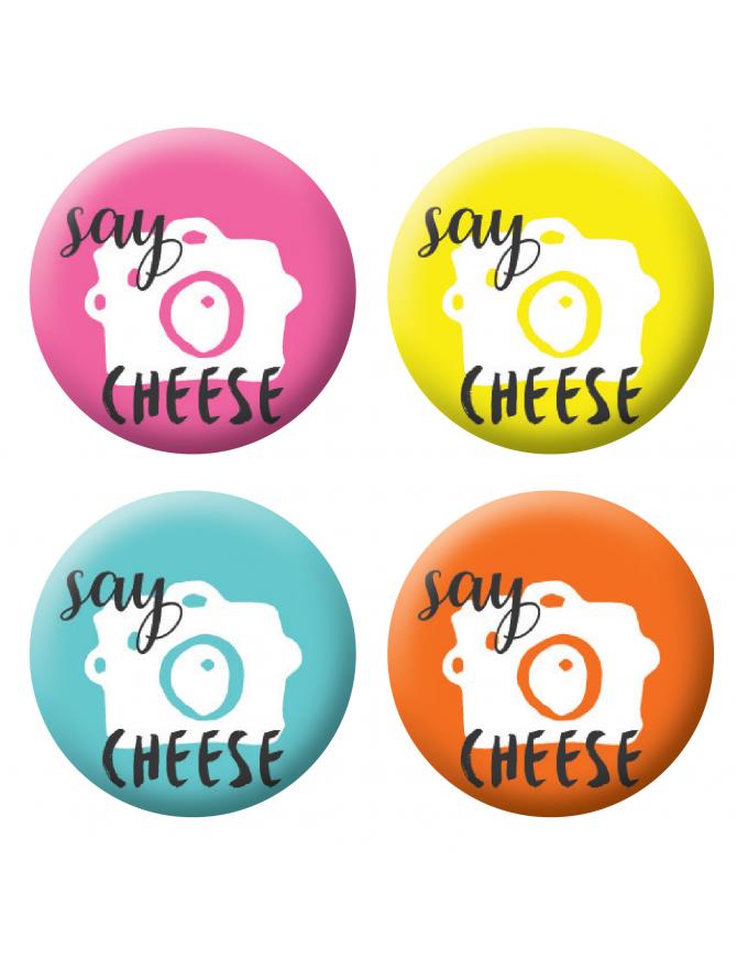 Badges say cheese scrapbooking