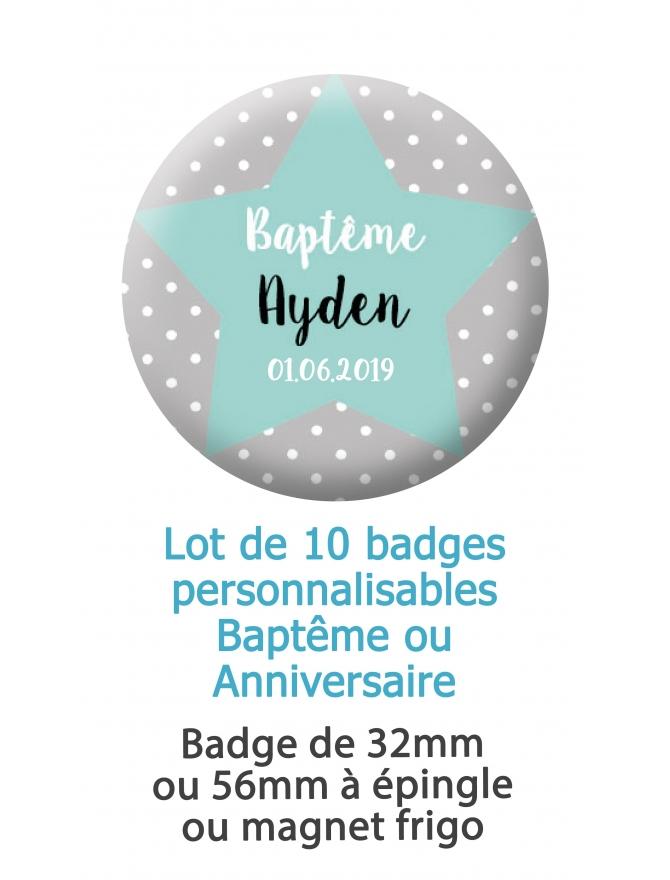Badges personnalisés baptême