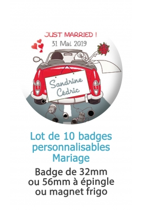 Badges personnalisés mariage voiture Just married rouge