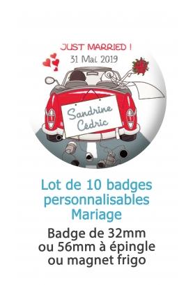 Badges personnalisés mariage voiture Just married rouge. badges mariage. badges personnalisé mariage. badges pacs