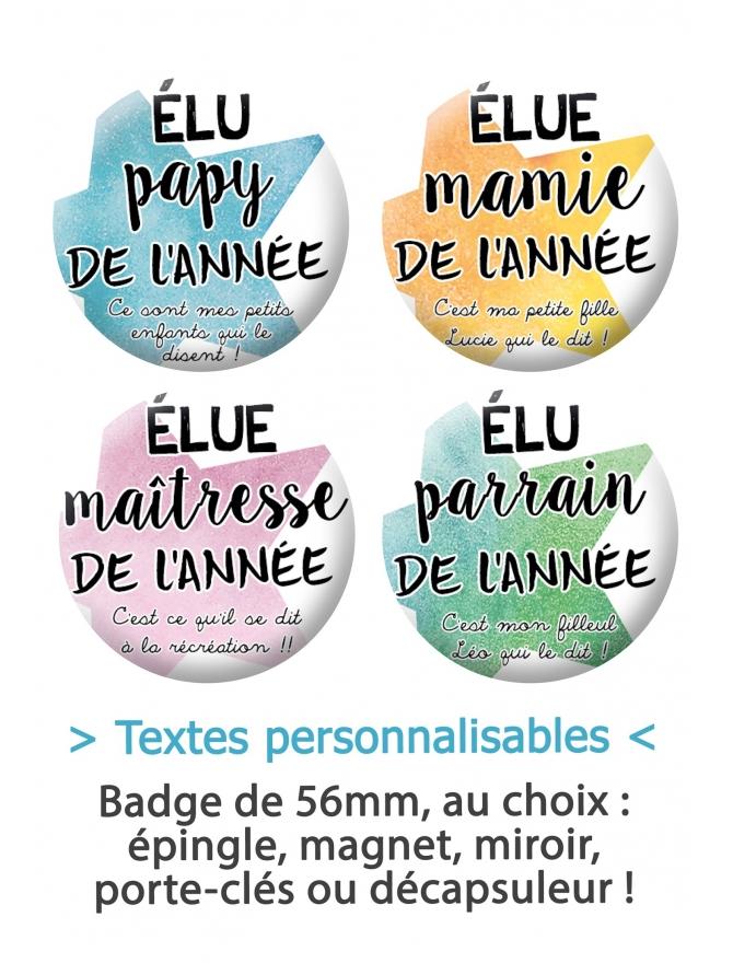 badge parrain. badge maitresse. badges mamie