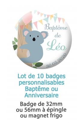 10 badges personnalisés baptême ou anniversaire koala