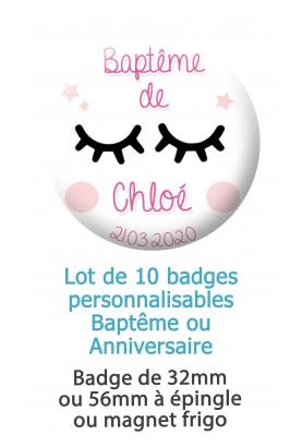 10 badges personnalisés baptême ou anniversaire fille