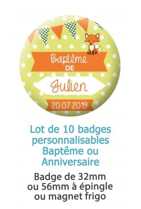 10 badges personnalisés baptême ou anniversaire renard