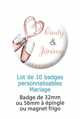 10 badges personnalisés mariage champagne