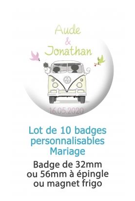 10 badges personnalisés mariage combi
