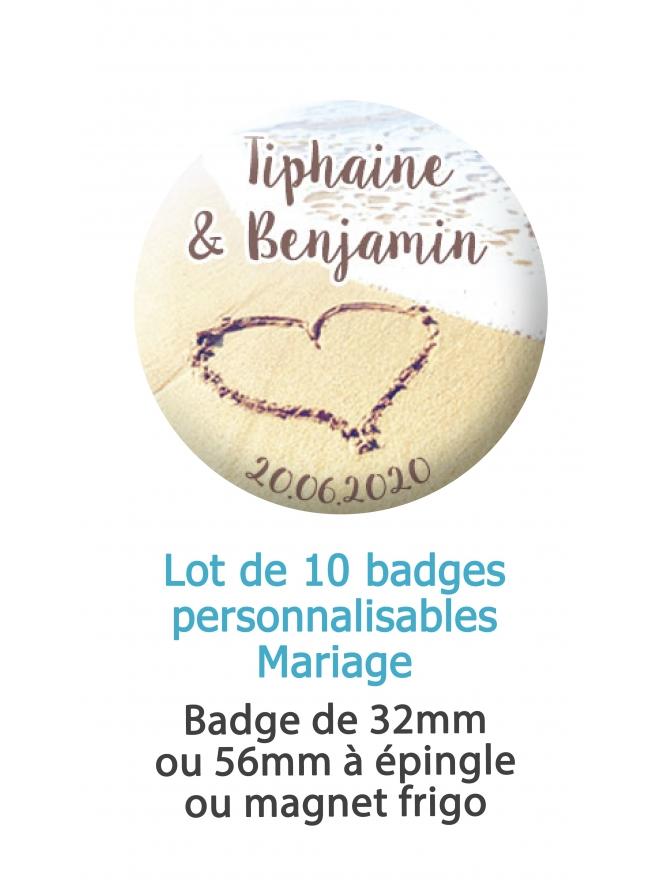 10 badges personnalisés mariage sable