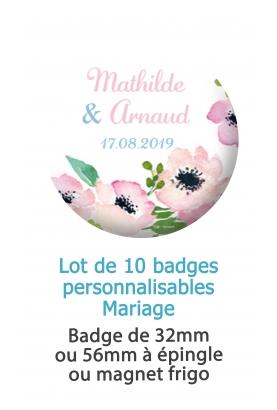 10 badges personnalisés mariage fleur aquarelle