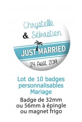 10 badges personnalisés mariage tropical